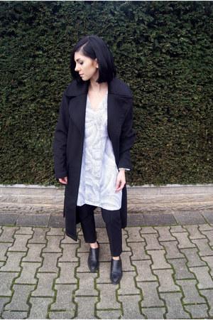 black H&M shoes - white The Fifth dress - black asos coat