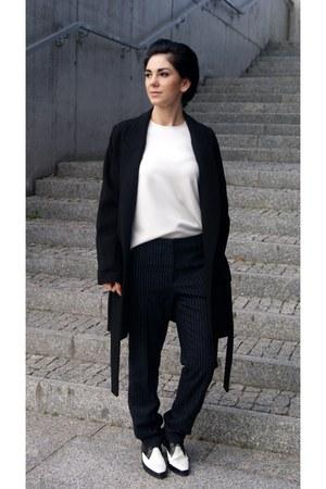 black moccasins Choies shoes - black Zara coat - white Front Row Shop top