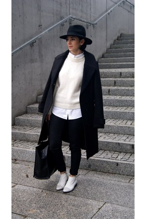 black reserved coat - white Zara shoes - black Choies hat