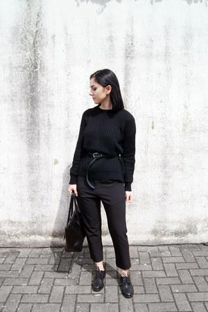black Zara shoes - black SK Cole sweater - black Hieleven bag
