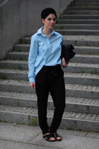 sky blue Front Row Shop shirt - black Zara bag - black Zara pants