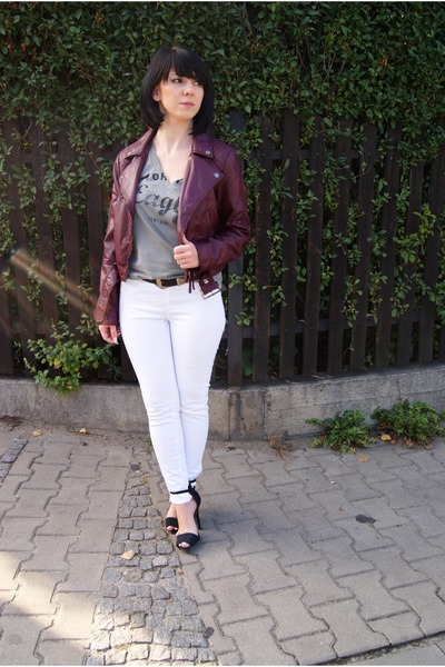 crimson leather jacket H&M jacket - heather gray Zara t-shirt