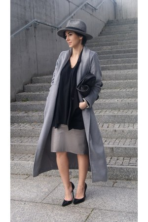 silver Sheinside coat - heather gray Mohito hat - black H&M jacket
