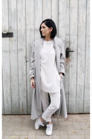 silver Sheinside coat - white Zara shoes - white hyphen top - white Mango pants