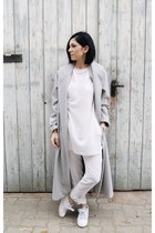 silver Sheinside coat - white Zara shoes - white hyphen top - white Mango pants
