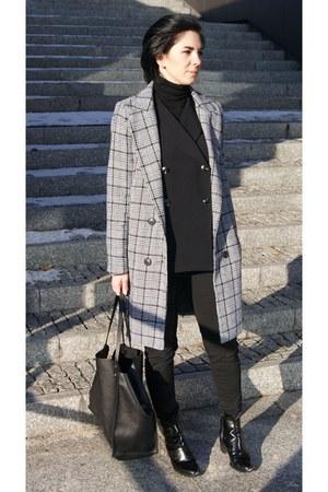 black Zara shoes - black houndstooth Sheinside coat