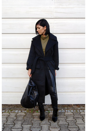 black asos coat - black backpack Anja Rubik bag
