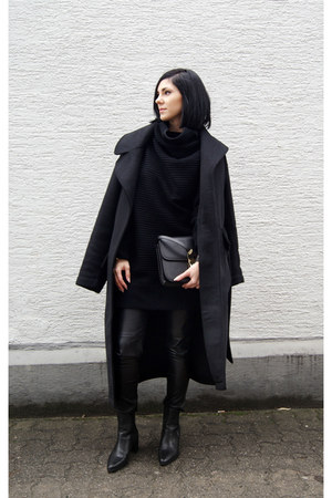 black asos coat - black romwe sweater - black Jessica Buurman bag