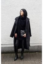 black asos coat - black romwe sweater - black Jessica Buurman bag