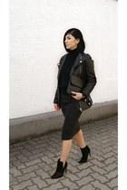 black leather H&M Trend jacket - black turtleneck OASAP sweater