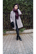 white houndstooth Choies coat - black Zara shoes - black Zara sweater