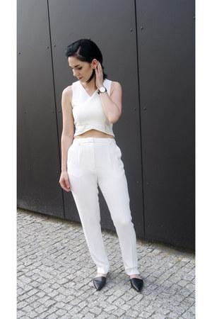 white Mango pants - black Zara shoes - white StyleMoi top