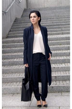 navy pinstripe Zara coat - beige Zara sweater - black Zara bag