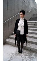 black Bershka boots - black Zara coat - white Stradivarius sweater