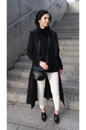 black Sheinside coat - black mule shoes Anja Rubik for Mohito shoes