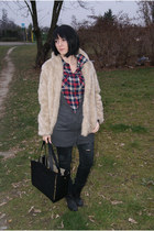 black romwe bag - beige fur H&M jacket - navy F&F blouse - black Zara pants