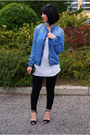 Blue-zara-jacket-black-cubus-sunglasses-white-h-m-top-black-zara-heels