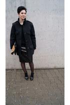 black Front Row Shop coat - black Zara boots - black Zara sweater