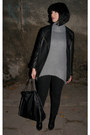 Black-leather-h-m-trend-jacket-heather-gray-zara-sweater