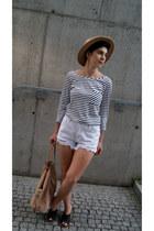 beige Choies hat - black H&M shoes - tan Zara bag - white Choies shorts