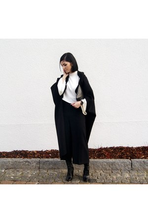 black Zara shoes - black cape Jessica Buurman coat - black Octobre bag