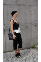 black Front Row Shop shoes - black Zara bag - black cami top Choies pants