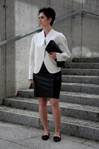 white neoprene Front Row Shop coat - black Stradivarius shoes - black Zara bag