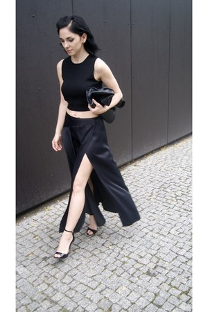 black Jessica Buurman shoes - black Zara bag - black ZARA STUDIO skirt