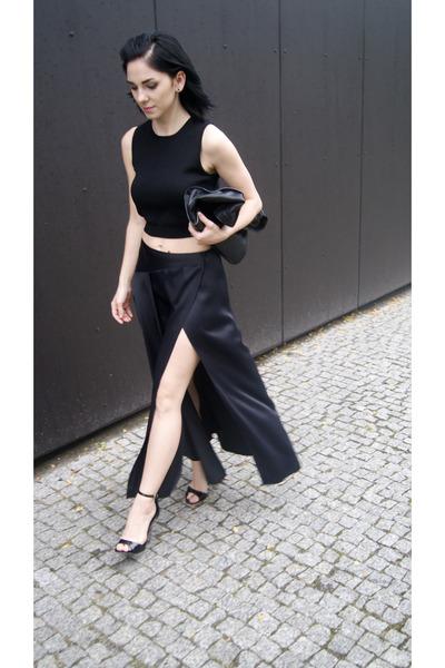 black Jessica Buurman shoes - black Zara bag - black ZARA STUDIO skirt