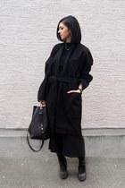 black oversize Garmentory coat - black Zara top - black Zara pants