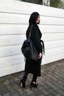 Black-asos-coat-black-backpack-anja-rubik-bag-black-leather-zara-pants
