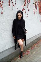 black Zara shoes - black WalG dress - black Zara coat - black Mango bag