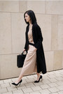 Black-mango-coat-black-emily-cho-bag-gold-cradle-ring-neutral-paisie-pants