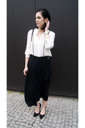 black culottes OASAP pants - black 7 mil viaParaDoPary shoes