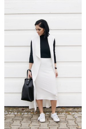 white Zara shoes - black JCOSStudios bag - white TFNC LONDON skirt