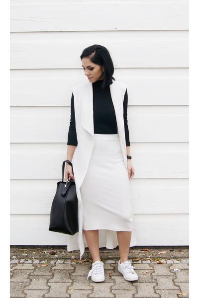 white Zara shoes - black JCOSStudios bag - white TFNC LONDON skirt