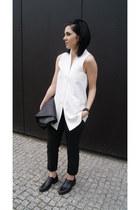 black H&M shoes - black Zara bag - black Sheinside pants - white Mango vest