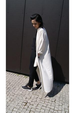 black Zara shoes - white asos coat - black Zara pants - black Mango top
