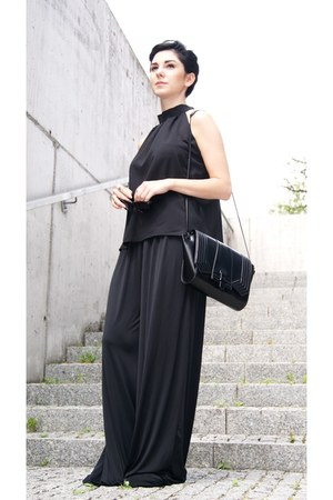 black Zara bag - black Cubus sunglasses - black palazzo H&M pants