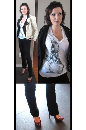 red Aldo shoes - black Forever 21 jeans - white truly madly deeply t-shirt - bla