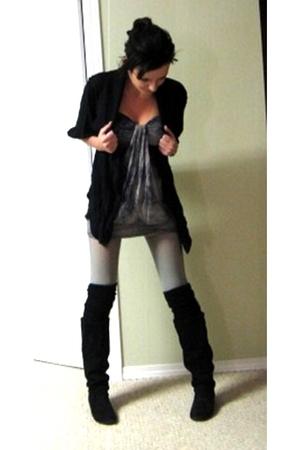 black Spring boots - black Spring socks - sears leggings - purple winners coat -