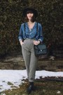 Black-booties-leather-tj-maxx-boots-blue-chambray-thrifted-shirt