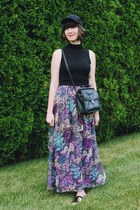 black baseball cap H&M hat - deep purple floral maxi Akira dress