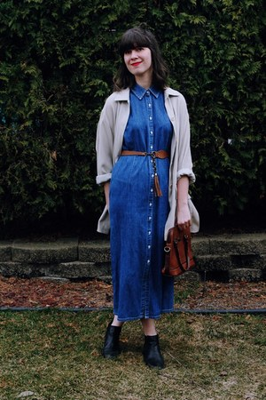 cream cotten thrifted jacket - navy denim maxi thrifted dress