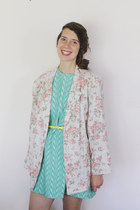 off white white floral Vintage 1990s blazer - aquamarine vintage 1960s dress