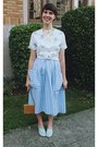 Light-blue-h-m-shoes-sky-blue-striped-fancy-lucky-vintage-dress