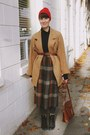 Camel-peacoat-thrifted-vintage-coat-brick-red-pompom-beanie-fall-code-hat