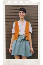 orange corduroy DOTTO vest - light pink floral Bear and Twine Vintage top