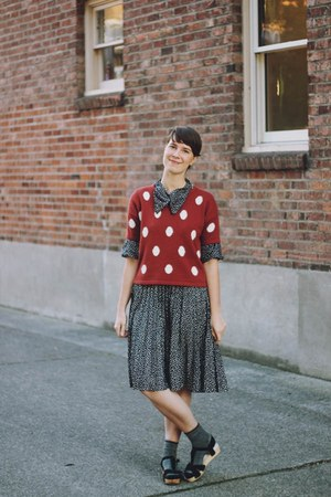 black polka dot My Avonlea dress - black platforms Urban Outfitters shoes