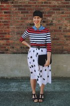 black Urban Outfitters shoes - ruby red striped banana republic shirt